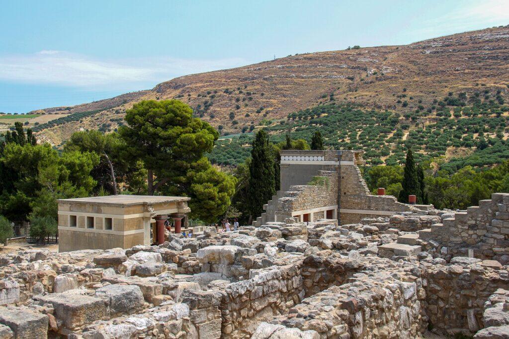 """Die Ruine einer minoischen Villa, der sogenannte """"Palast von Knossos"""" auf Kreta"""