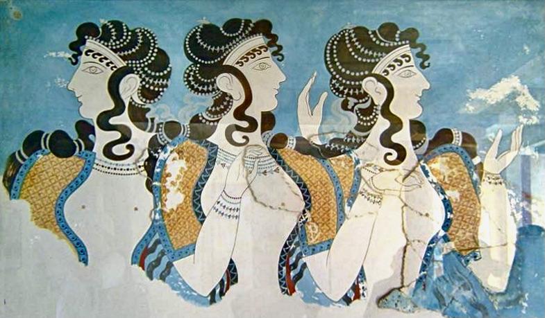Ein minoisches Fresko aus Knossos, der Ausschnitt zeigt drei reichgeschmückte Frauen.